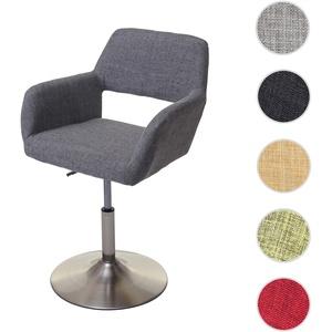 Esszimmerstuhl HWC-A50 III, Stuhl Küchenstuhl, Retro 50er Jahre, Stoff/Textil ~ grau, Fuß gebürstet