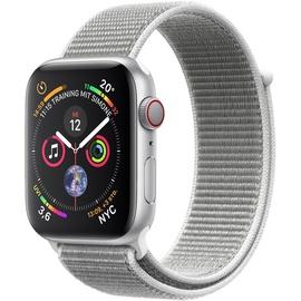 Apple Watch Series 4 (GPS + Cellular) 44mm Aluminiumgehäuse silber mit Loop Sportarmband muschel