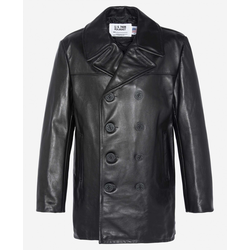 Schott NYC Leather Peacoat - schwarz