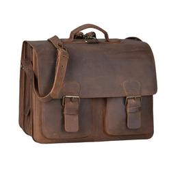 Ruitertassen Aktentasche Classic Satchel, 42 cm Lehrertasche mit 3 Fächern, auch als Rucksack zu tragen, dickes rustikales Leder braun