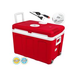 KESSER Thermobehälter, Kühlbox mit Rollen zum Warmhalten und Kühlen thermo-Elektrische Kühlbox 12 Volt und 230 Volt Mini-Kühlschrank Thermobox für Auto Boot und Camping EEK A++ mit ECO Modus rot