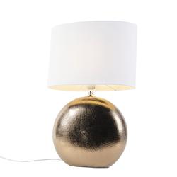 Romantische Tischlampe Kupfer mit weißem Schirm 34 cm - Cleo