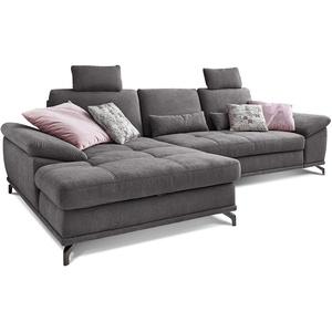 Cavadore L-Form-Sofa Castiel mit Federkern / Große Eckcouch mit Sitztiefenverstellung, Kopfstützen und XL-Longchair / 312 x 114 x 173 / Webstoff, Grau