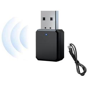 Auto USB Bluetooth EmpfäNger 5.1, mit 3,5 mm AUX, USB-Schnittstelle Plug & Play, Eingebautem Mikrofon, Freisprecheinrichtung, Geeignet füR Auto/PC/TV/Kabelgebundene Lautsprecher Usw. (Schwarz)