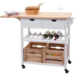 Servierwagen HWC-G35, Küchenwagen Rollwagen Küchenhelfer Beistellwagen Teewagen, Kiefernholz 89x119x