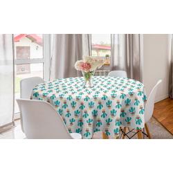 Abakuhaus Tischdecke Kreis Tischdecke Abdeckung für Esszimmer Küche Dekoration, Cinco de Mayo Kakteen Mexikanische