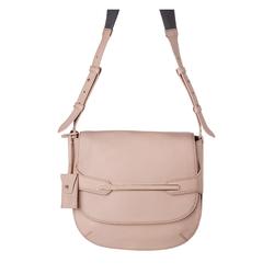 DUDU Damentasche in Halbmondform aus echtem Leder, mit verstellbarem Träger und Überschlag mit Magnetknopf Nude