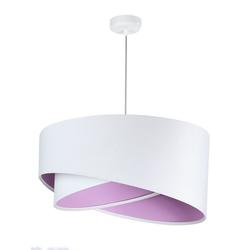 Licht-Erlebnisse Pendelleuchte BRANDO Weiße Pendelleuchte Stoffschirm rund Esszimmer Wohnzimmer Lampe
