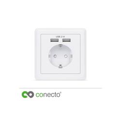 conecto conecto Schutzkontakt Steckdose Einbausteckdose USB-Ladegerät