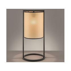 FISCHER & HONSEL LED Hockerleuchte, Tischlampe groß mit Rattan Lampen-Schirm, Vintage Korb-Lampe modern, Rattanlampe fürs Wohnzimmer & Nachttischlampe Schlafzimmer