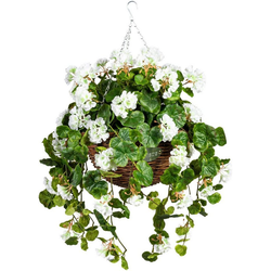 Künstliche Zimmerpflanze Volme Geranie, DELAVITA, Höhe 80 cm, im Weidekorb weiß