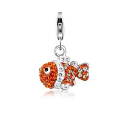 Nenalina Charm-Einhänger Fisch Meer Bunt Kristalle 925 Silber