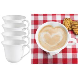 4er-Set Porzellan-Tassen in Herzform