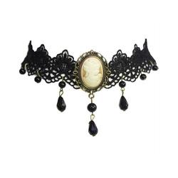 Vintage Goth Halsband Cameo Halsschmuck Spitze