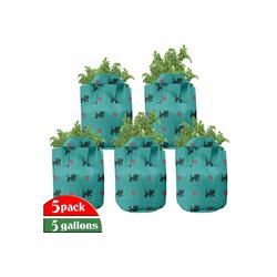 Abakuhaus Pflanzkübel hochleistungsfähig Stofftöpfe mit Griffen für Pflanzen, Teal Kätzchen rosa Herzen 28 cm x 28 cm