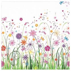 Linoows Papierserviette 20 Servietten Sommer, Blumenwiese, naives Blumenaq, Motiv Sommer, Blumenwiese, naives Blumenaquarell