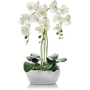 Gesteck Orchideen weiß Kunstblumen Topf Fensterschmuck Blumengesteck TischDeko Kunstpflanze Orchideen Höhe: ca.65cm in Weiß