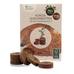 OwnGrown Anzucht- und Kräutererde Premium Kokos Quelltabletten - 36 Stück - mit Nährstoffen für die Pflanzenaufzucht - 100 % torffrei und biologisch abbaubar, (36-St)