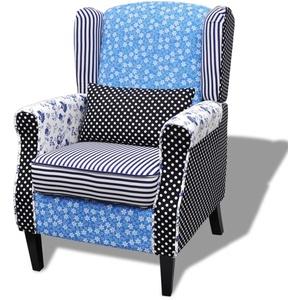 yorten Landhausstil Patchwork Armsessel Polstersessel Sessel Relaxsessel Loungesessel Blumen Blau und Weiß 68 x 73 x 101 cm