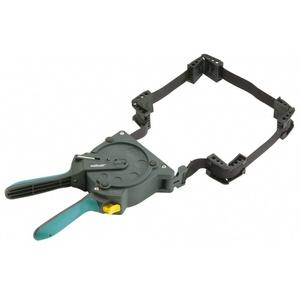 Wolfcraft Einhand-Rahmenspanner 3681000 – Bandspanner zur schnellen Fixierung von Brettern und Rahmen – Ratschen Eckspanner mit 5m Spannband