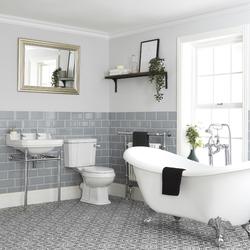 Nostalgie Bad Set mit Badewanne, WC und Waschbecken mit Gestell - Richmond