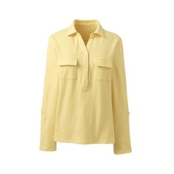 Shirt mit Polokragen aus Leinenmix, Damen, Größe: L Normal, Gelb, by Lands' End, Goldener Mais - L - Goldener Mais