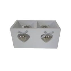 elbmöbel Teelichthalter Teelichthalter 2er Herz weiß, Windlicht: 2 er Teelichthalter 20x10x10 cm weiß Landhausstil