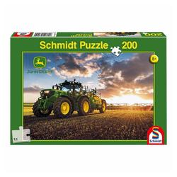 Schmidt Spiele Puzzle John Deere Traktor 6150R mit Güllefass, 200 Puzzleteile