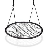 Relaxdays Nestschaukel mit Netz, Ø120cm, Garten Tellerschaukel für Kinder
