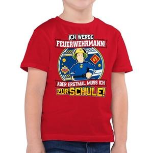 Shirtracer T-Shirt Einschulung - Ich werde Feuerwehrmann - Aber erst mal muss ich zur Schule - Feuerwehrmann Sam Jungen - Jungen Kinder T-Shirt 116 (5/6 Jahre)