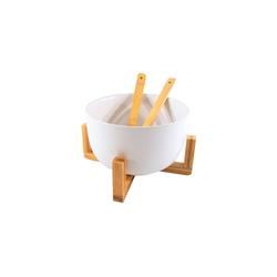 Neuetischkultur Salatschüssel Salatschüssel mit Ständer mit Salatbesteck, Keramik, Bambus, (4-tlg) weiß