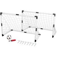 IDENA 40465 Mini-Fußballtor-Set (Set, 2 Kinderfussballtore mit Netz, Ball und Ballpumpe), 2 Mini Fußballtore aus Kunststoff mit Netz, Ball und Ballpumpe, 8 Befestigungs-Heringe, Kinderfussballtore, Outdoorspielzeug, Gartenspielzeug, Spielzeug für Draußen