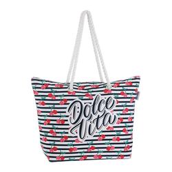 fabrizio® Strandtasche, mit geräumigen Hauptf, ideal für den Strand blau