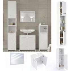 Vicco Badmöbel Set Kiko Badezimmer Spiegel Kommode Unterschrank Weiß