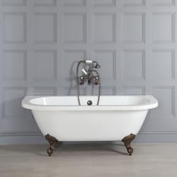 Vorwand-Badewanne 1685x780mm Füße in Gold, doppelseitig freistehend - Richmond