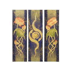 Oriental Galerie Leinwandbild Bild Wand Deko Leinwand Triptychon 90 cm Nr. 2, Blumen, Abstrakt (3 Stück), Handarbeit