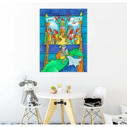 Posterlounge Wandbild, Ritter Drachen und die Ritterburg 100 cm x 130 cm
