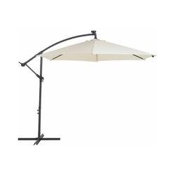 Beliani - Moderner Sonnenschirm Beige Polyster/Stahl ø 285 cm LED-Beleuchtung Corval