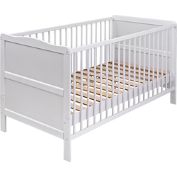 Kinderbett, Urra, Kiefer weiß, teilmassiv, 70 x 140 cm