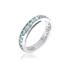 Ring Bandring Kristalle 925 Sterling Silber Elli Hellblau