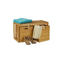 relaxdays Sitzbank Sitzbank mit Stauraum Bambus