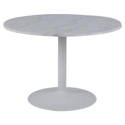 Stół do jadalni okrągły Fliese średnica 110 cm biały marmur na białej podstawie