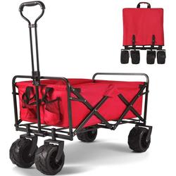 Merax Bollerwagen, klappbar Handwagen für Strand, Gartenwagen rot