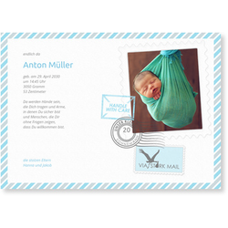 Geburtskarten (10 Karten) selbst gestalten, Post vom Storch - Grau