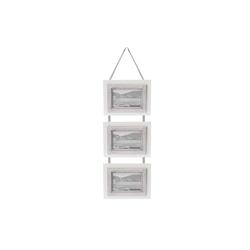 elbmöbel Bilderrahmen Bilderrahmen 3er weiß grau, für 3 Bilder, Hängerahmen:3er Bilderrahmen 20x50x2 cm weiß Landhausstil
