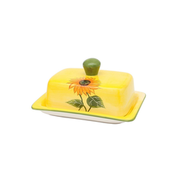 SIGRO Butterdose Dolomite Butterdose Sonnenblume, Keramik, (2-tlg)