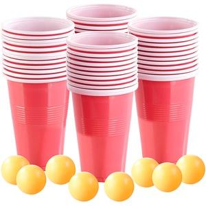 4er-Set Trinkspiel-Set Bier Pong, je 24 Becher (je 450 ml) & 2 Bälle