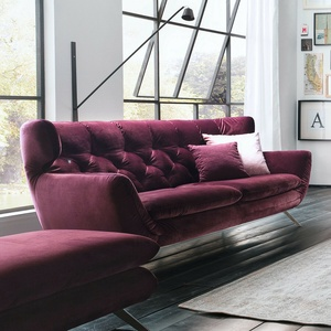 Sofa Sixty 2,5-sitzer Couch In Velour Stoff Purple Lila Mit Chrom Gestell 200 Cm