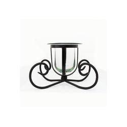 mitienda Windlicht Windlicht, Kerzenhalter aus Glas und Eisen, Vase