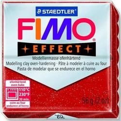 Modelliermasse Fimo soft 56g rot glitter